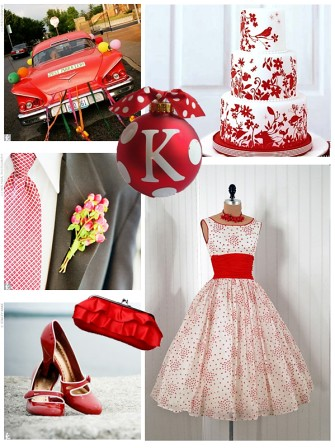 Amazing Large Containers Are Used To Hold Green Candy For A Theme With Red Vintage Bridesmaid Dresses