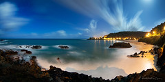 Mahina Piha ( KristoforG) Tags: ocean street trees shadow 2 sky panorama moon 120 church water lights hawaii bay bush sand rocks long exposure waves pacific time warp palm full waimea gellert minute piha hau kristofor mahina