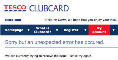 Tesco Clubcard Error Message