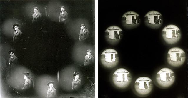 Albert Londe, chronophotographies, portrait de Mlle Charcot; cabine de Marey, parc des princes, 1883 (coll. SFP).