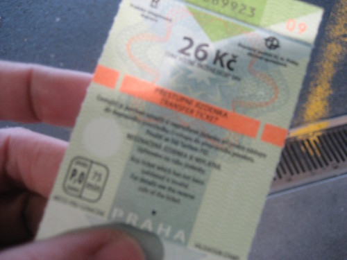 My first bus ticket in Prague!