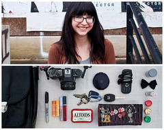 Courtney Diptych (J Trav) Tags: camera two portrait film girl bag keys persona one is nikon diptych phone wallet courtney bow than sharpie whatsinyourbag altoids lipgloss better compact burtsbees d90 reesescups theitemswecarry