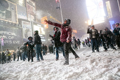 Snowball Fight in Times Square, Manhattan, Dec...