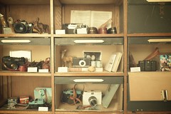 vintage and lo-fi (librarymook) Tags: camera film japan shop lens lumix iso100 lomo box album natura panasonic shelf diana photographs  pancake 20mm straps f17 classica gf1 mooprint