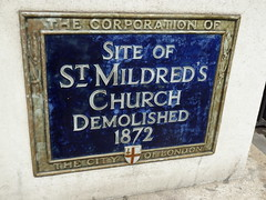 Photo of St. Mildred's Church blue plaque