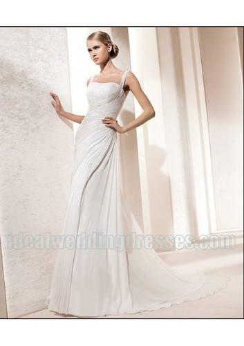 Chiffon Spaghetti-straps Beaded Rouched Bodice in Chapel Train Cheap 2011 New Wedding Gown WD-0483