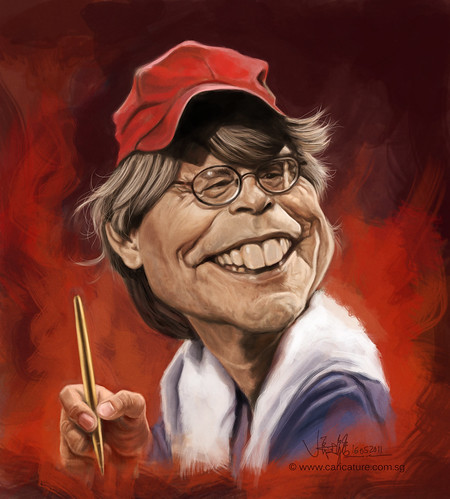 digital caricature of Stephen King