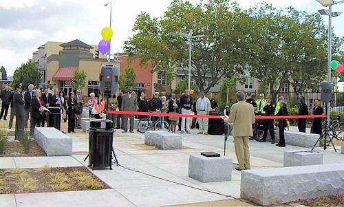 City Manager Bill Lindsay stands in the renovated plaza May 26 as he dedicates the completion of the project on Nevin Avenue that links the transit village at the Richmond BART station to the nearby Social Security building and the Kaiser Richmond Medical Center. The Metro Walk is in the background.