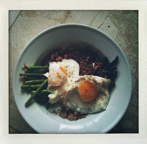 pan-roasted asparagus w/ fried eggs & anchovy bread crumbs