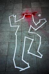 Dead on my feet (Bömmel) Tags: world street red streetart colour berlin art club canon stars dead grey blood nikon flickr floor kunst award romano di murder through fotografia bla friedrichshain splatter murderer klecks the spritzer f´hain splut colourartaward