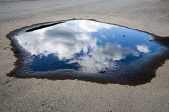 Pentagonal Puddle with Sky (johnwilliamsphd) Tags: blue sky copyright cloud white newyork reflection water john puddle williams five c upstate asphalt pentagon binghamton sides southerntier  williams john broomecounty johncwilliams footofftheground johnwilliamsphd phd