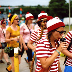Where's Wally? (mister sullivan) Tags: portrait film festival 35mm canon square 50mm badass grain glastonbury f18 fancydress 2009 strongbow whereswally buttonmooon possiblykodakfilm maybejessopsfilm