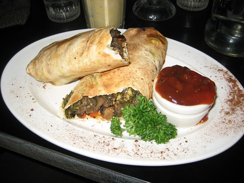 grilled eggplant veggie wrap