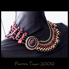 Indian Summer Nights Necklace 01 (Triz Designs) Tags: black gold necklace handmade bordeaux jewelry collar beaded burgandy beadwork cabochon swarovskipearls biwapearls ebwc trizdesigns