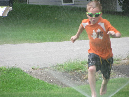 Sprinkler Fun... Liam