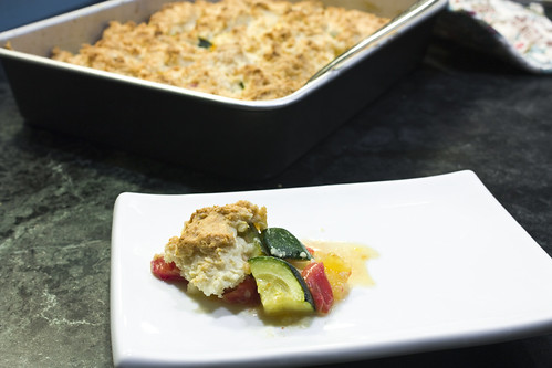 pan and plate Brie Tomato Summer Squash Cobbler