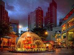 Liuli Crystal Fountain (anType) Tags: china city light people building water fountain