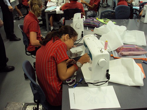 Student sewing at Discovery College (Hong Kong)