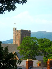 Church and Mountain (Dave Roberts3) Tags: trees mountain green tower church wales landscape geotagged rooftops cymru weathervane anglican priory stmarys abergavenny skirrid monmouthshire otw littleskirrid platinumheartaward blipfree