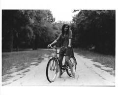 (The Vision Beautiful) Tags: portrait blackandwhite bw film girl bike bicycle path schwinn corvette cruiser ericamcstay