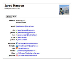 screenshot of Jared Hanson's hCard