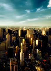 sunlight, new york city (mudpig) Tags: nyc newyorkcity light sunlight newyork skyline skyscraper geotagged cityscape afternoon view state manhattan rockefellercenter midtown esb empire empirestatebuilding chryslerbuilding metlife panam hdr gebuilding mudpig stevekelley