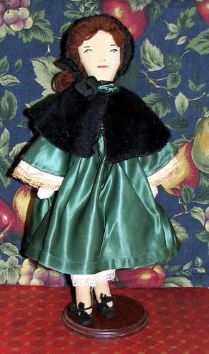 Vintage EFA doll in green satin