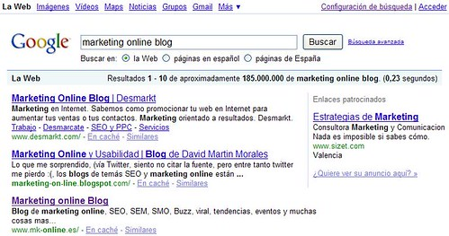marketing online blog 3º posición
