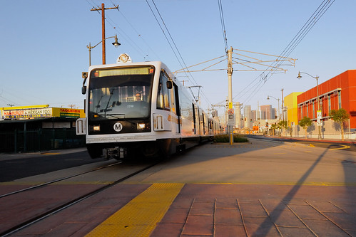 An eastbound Gold Line pulls into the new Pico/Aliso station on grand opening day of the Gold Line Eastside Extension