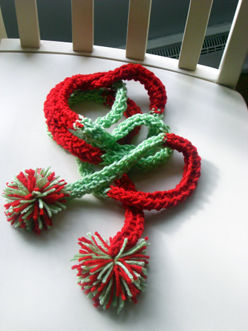 red and green knit garland by you.