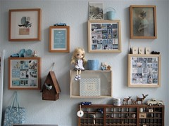 Studio Wall display (moline) Tags: blue brown art wall studio doll natural birdhouse dal neutral