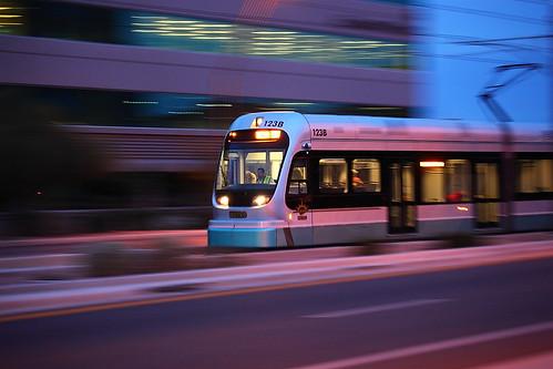 Phoenix Light Rail Train a Movin!