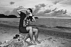 I captured you, you captured me (Trya Putri) Tags: blackandwhite art beach me nature myself indonesia fun happy photography freedom evening java nikon photoshoot emotion random expression free imagination myworld 2009 eastjava trya photographybytrya