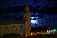 Santa Brbara (ISACROMEO) Tags: argentina night noche iglesia luna nocturna fachada comodororivadavia pentaxk10d iglesiasantabrbara diademaargentina