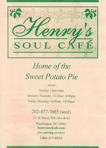 Henry's Soul Cafe Menu