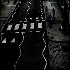 Geometry of Deptford high street (Che-burashka) Tags: road urban black london crossing pavement geometry fromabove squareformat deptford highstreet pedestriancrossing roadmarkings urbangeometry lx3 locallondon urbanlyric gettyskn gettyskngroup