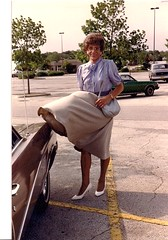 Laurette in 1988 (Laurette Victoria) Tags: wisconsin outside outdoors windy skirt purse milwaukee breezy laurette laurettevictoria