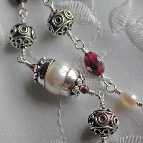 Bali Silver, Garnet and Freshwater pearl set
