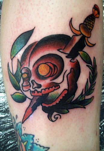 old school skull dagger tattoo