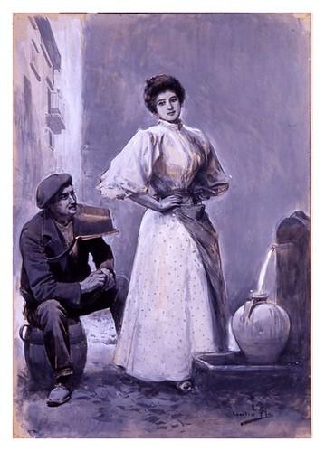 I.E.A. 15 AGOSTO 1898-2.º N.º XXX. Pág. 88. COQUETEO EN LA FUENTE- DIBUJO DE CECILIO PLÁ