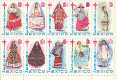 mexican costume Christmas seals (Teyacapan) Tags: christmas xmas costumes art mexicana mexico clothing women stamps collection mexican seals marquez trajes indumentaria