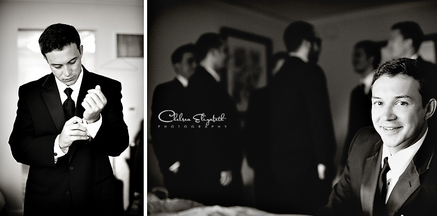 groom getting ready in hotel room image