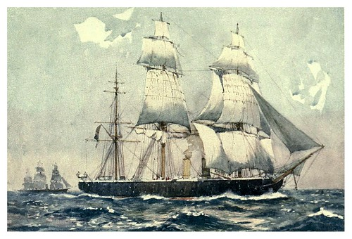 010-El primer acorazo de alta mar HMS Warrior en 1863-The Royal Navy (1907)- Norman L. Wilkinson