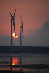 Crescent Sunset (daniellih) Tags: sunset reflection beach windmill landscape solar eclipse nikon power wind january taiwan crescent  taichung  scape  turbine partial wetland 2010    annular  gaomei     d40x