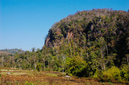 Limestone mountains outside Ban Tham Lot, Mae Hong Son, northern Thailand.