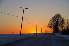 The Grid (Matt Champlin) Tags: life sunset snow cold home eh lines canon grid evening march power random country powerlines telephonepoles powergrid 2014 wherethefisspring