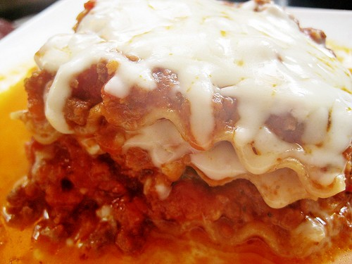 Individual Lasagna with melted Mozzarella