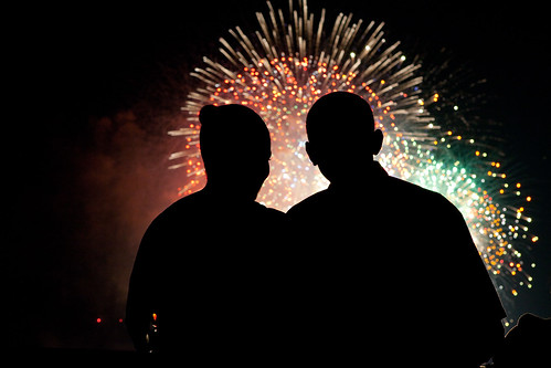 President Barack Obama and First Lady Michelle Obama watch the fireworks over the National Mall from the White House on July 4, 2009. (Official White House photo by Pete Souza)