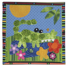 Alligator (Ronnie Lewison) Tags: abstract children colorful alligator whimsical wallhanging fused artquilt cottonfabric rawedge