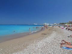 Aquarium beach, city of Rhodes (lefteris_) Tags: blue sea summer people beach sand greece swimmers rodos rhodes rhodos canonsx1is
